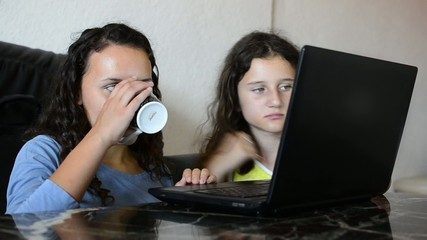 Sisters working on a lap top