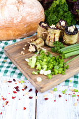 Fried aubergine with cottage cheese, parsley and bread