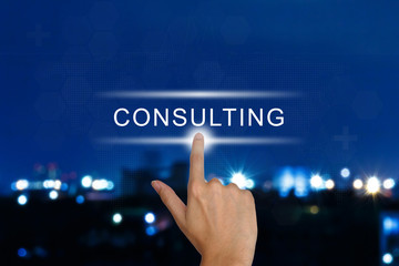 hand pushing consulting button on touch screen