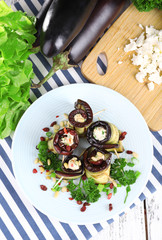 Fried aubergine with cottage cheese and parsley