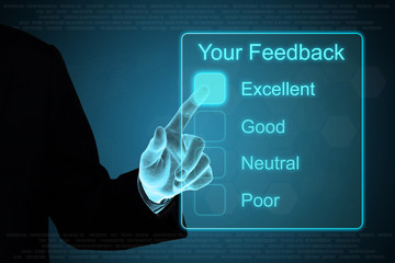 business hand clicking your feedback on touch screen