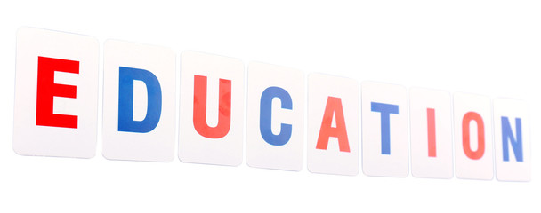 Education word formed by educational paper cards isolated