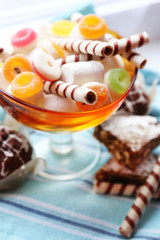 Different sweets on table, close-up
