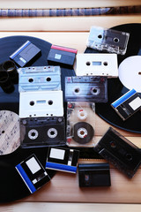 Collection of retro audio tapes, close up