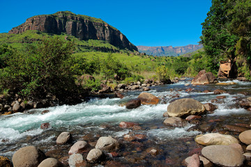 River in the foothills of the Drakensberg Mountains