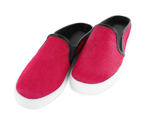 Bright pink shoes, isolated on white