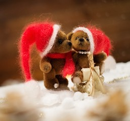 Small toy bears on a sleigh in christmas still life