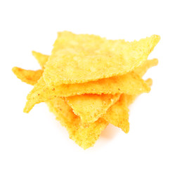 Tasty nachos isolated on white
