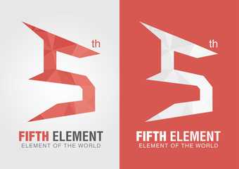 Fifth element icon symbol from an alphabet letter number 5.