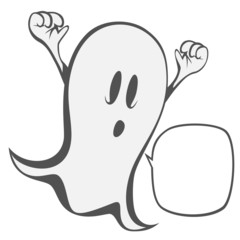 Funny freaky ghost - a haunting ghost with a speech bubble