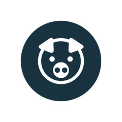 pig circle background icon.