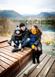 Family with little boy on pier - 70144770