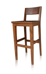 Bar chair isolated by hand made, clipping path.