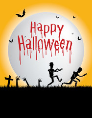 Happy Halloween-Dead people walking from the graves