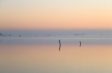 Two poles in a foggy lake at dawn.