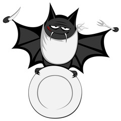 Funny freaky bat - big black fat (a hungry one)