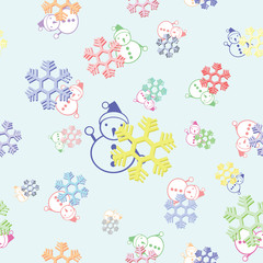 seamless background of colorful snowflake and snowman vector