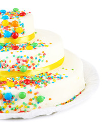 Beautiful tasty birthday cake, isolated on white