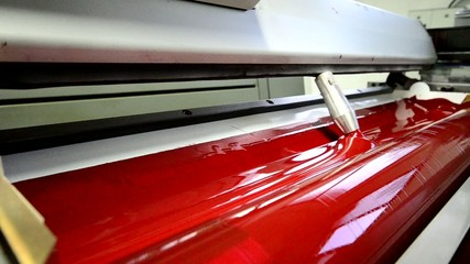 Red on the offset  print press machine