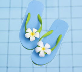 Vibrant blue sandals in the water pool