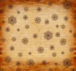 Christmas snowflakes on abstract background in the style of mixe