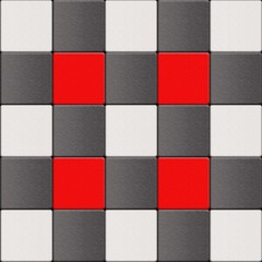 Black red and white checkered floor tiles