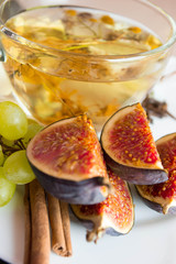 fresh figs with a cup of tea