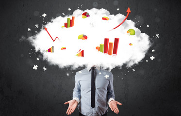 Modern business man with a graph cloud head