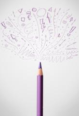 Pencil close-up with sketchy arrows