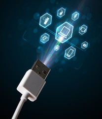 Electric cable with multimedia icons