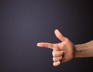 Gun shaped man hand