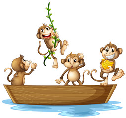 Monkeys on boat