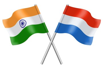 Flags: India and Luxembourg