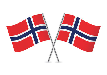 Norwegian flags. Vector illustration.