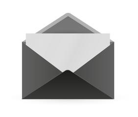 black envelope and paper