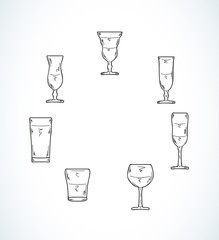 sketch of glasses for water or alcohol