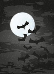 night with moon and bats