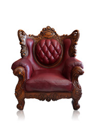 Old styled brown vintage armchair isolated, clipping path.