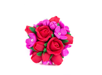 Handmade artificial roses.