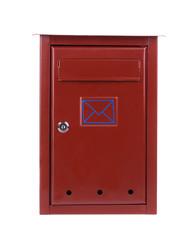 Red metal mailbox.