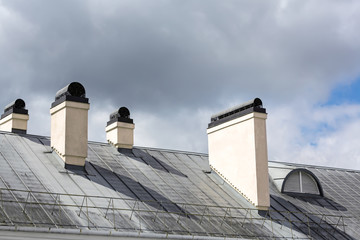 Old roof with chimney