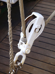 Pulley and rope on a boat