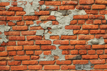 wall of red bricks destroyed abstract background