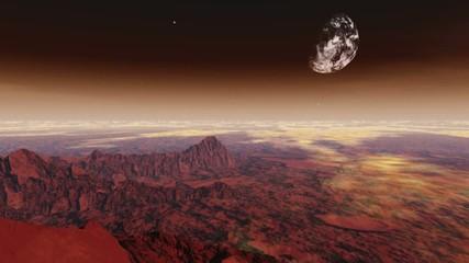 Flight over alien planet