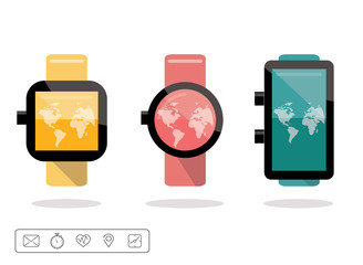 Smart watch or wearable on hand device set with icons set.