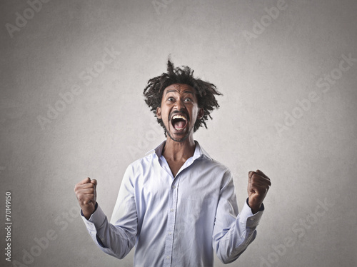canvas print picture Businessman jubilating