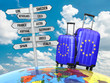 canvas print picture - Travel concept. Suitcases and signpost what to visit in Europe.