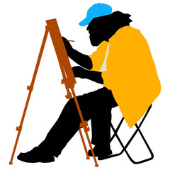Silhouette, artist at work on a white background, vector illustr