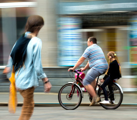 Busy city street people. Intentional motion blur