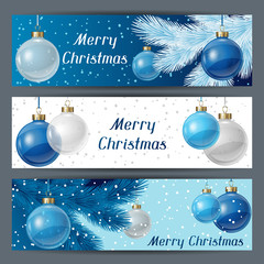Holiday horizontal banners template with christmas balls.